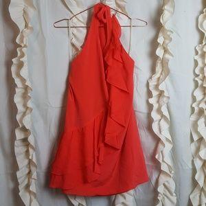 Alice and Olivia Silk Orange Ruffle Halter Dress